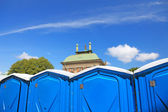 Temporary toilet cabins in center of Stockholm city. — Stock Photo