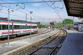Train on spanish station Blanes, Europe. — Stock Photo