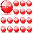 Stock Vector: 3D vector star badges with discount numbers for promotion and ma