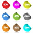 Collection of colored discount stickers with percent numbers. — Stock Vector