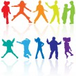 Set of colored dancing, jumping and posing teenagers vector silh — Stock Vector
