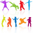 Set of colored dancing, jumping and posing teenagers vector silh - Imagen vectorial