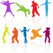 Set of colored dancing, jumping and posing teenagers vector silh - Stock Vector