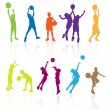 Stock Vector: Silhouettes of children jumping and playing basketball with refl