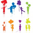 Colored reflecting silhouettes of playing, jumping children with — Stock Vector