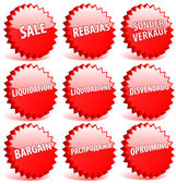 Set of red 3D vector star badges with word sale in different lan — Stock Vector