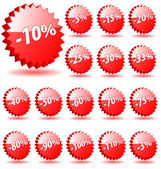 3D vector star badges with discount numbers for promotion and ma — Stock Vector