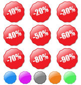 Collection of colored discount tags with percent numbers. Easy t — Stock Vector