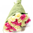 Bouquet of pink and white roses isolated on white background. — Stock Photo