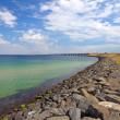 Stock Photo: Panoramic view of Oresundsbridge between Sweden and Denmark, Sca