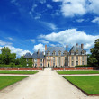 Stok fotoğraf: Panoramic view of old french nobility mansion, Europe.