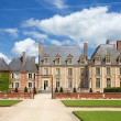 Old french nobility mansion with beautiful garden and architectu — Stok fotoğraf