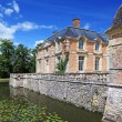 Old french mansion with lake near it, now a museum, France, Euro - Stock Photo