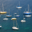 Stock Photo: Mediterranebay with large group of yachts.