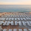 Lot of deck-chairs at the beach of city of Nice, France, Cote d&#039; - Stock Photo