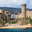 Castle in Tossa de Mar, view from sea, Costa Brava, Spain. — Stock Photo