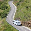Camper on the road near border between Spain and France. — Stock Photo