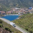 Camper on the road near spanish city Portbou, not far from borde — Stock Photo #8109627