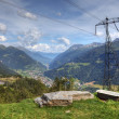 Modern aerial view of swiss alps - powerline, roads and strange — Stock Photo