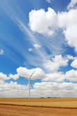 French field with wind power generators, Europe. — Foto de Stock