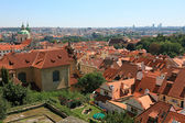 Cityscape view of old Prague, lot of tiled roofs, Czech republic — Stock Photo