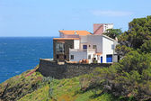 Typical real estate of mediterranean seashore, Cerbera village, — Stock Photo