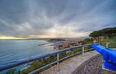 Wide angle panoramic view of harbor of Nice city, France. Dramat — Stock Photo
