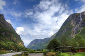 Small camping and picturesque landscape of norwegian mountains, — Stock Photo