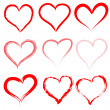 Stock Vector: Collection of red artistic hand drawn hearts.