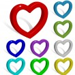 Collection of colored 3d vector hearts with shadows isolated on — Stock Vector