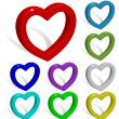 Collection of colored 3d vector hearts with shadows isolated on - Stock Vector