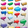 Collection of different empty vector 3D shapes of speech bubbles - Stock Vector