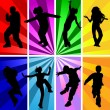 Vector silhouettes of jumping and dancing kids in retro style. — Stock Vector #8107895