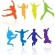 Boys and girls jumping vector silhouette with reflections. — Imagens vectoriais em stock