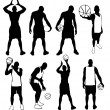 Set of vector basketball players silhouettes. Easy to edit, any — Stock Vector #8107919