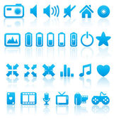 Set of vector multimedia web buttons, icons. Audio, video. photo — Stock Vector
