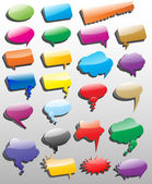 Collection of different empty vector 3D shapes of speech bubbles — Stock Vector