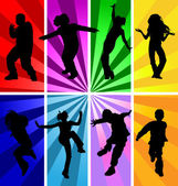 Vector silhouettes of jumping and dancing kids in retro style. — Stock Vector