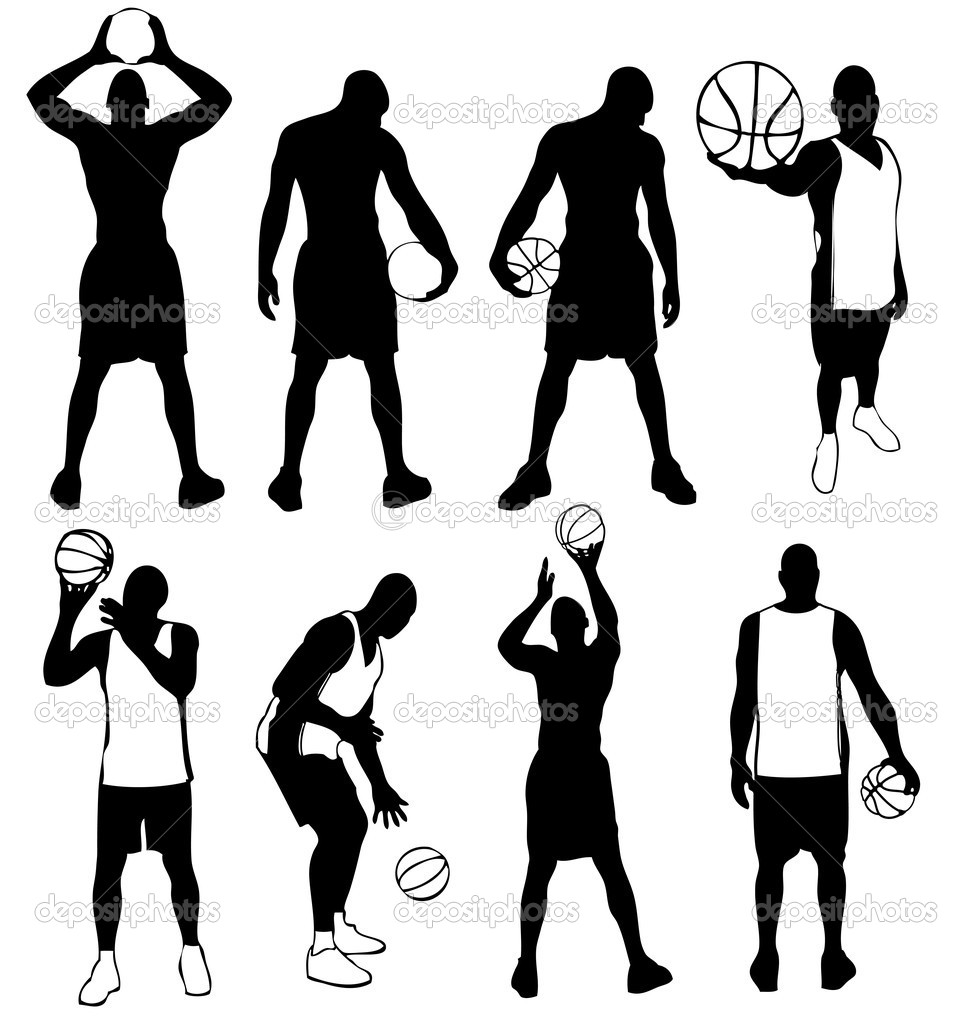 Set of vector basketball players silhouettes. Easy to edit, any size. — Stock Vector #8107919