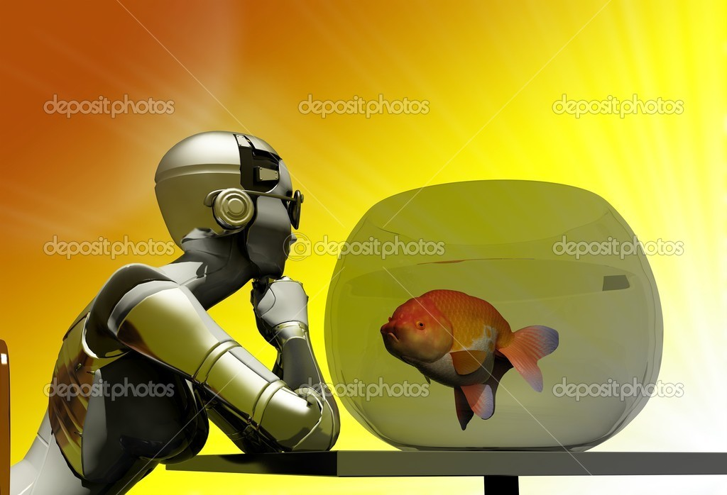 The robot with an aquarium on a colorful background  Stock Photo #8539941