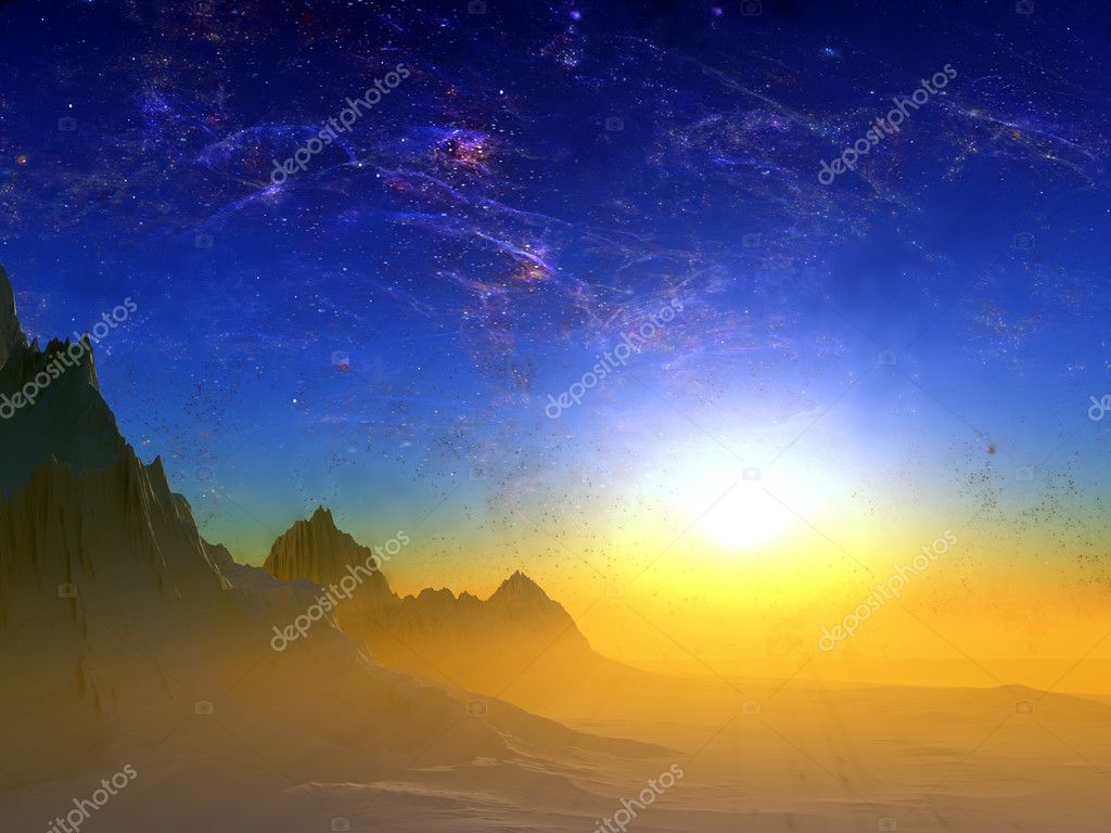 Colourful landscape on a background blue sky  Stock Photo #9500225