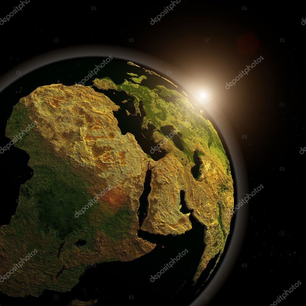 The globe in the night sky.  Stock Photo #9500255