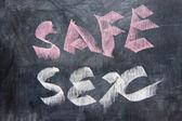 Écriture de tableau noir - safe sex — Photo