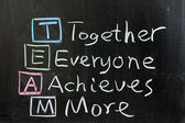 TEAM: Together, Everyone, Achieves, More — Stock Photo