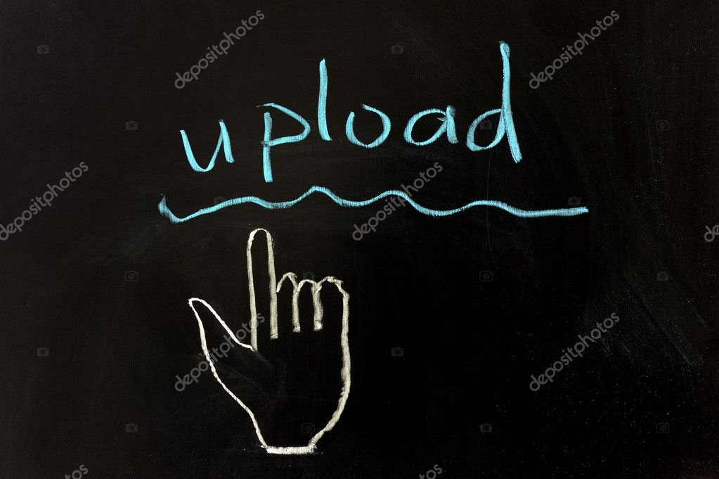 Chalk drawing - Upload and mouse pointer — Stock Photo #9427379