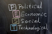 PEST: political, economic, social, technological — Stock Photo