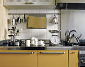 Detail of yellow modern kitchen — Foto Stock