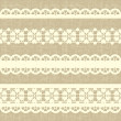 Vintage straight lace on linen canvas background. — Stock Vector