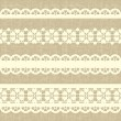 Vintage straight lace on linen canvas background. - Stockvektor