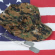 Us marine camouflage cap with blank dog tag on us flag backgroun — Stock Photo